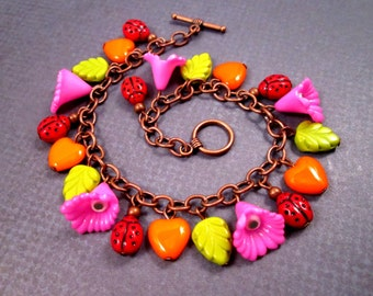 Flower Charm Bracelet, Ladybugs in the Garden, Colorful and Copper Beaded Bracelet, FREE Shipping U.S.