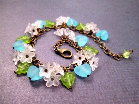 Flower Charm Bracelet, White Blue Green Bracelet, Blossoms Leaves and Hearts, Brass Beaded Bracelet, FREE Shipping U.S.