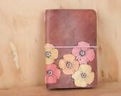 Leather Notebook - Midori - Travelers Notebook - Moleskine - Poppy Garden Pattern - Flowers in pink, orange yellow and antique mahogany