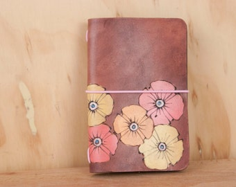 Midori Cover - Leather in the Poppy Garden Pattern with flowers - Handmade Leather Journal in Pink, Orange, Yellow and Antique Mahogany
