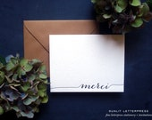 Merci Card, Merci Thank You Cards, Letterpress Thank You Notes, Note Set (Set of 4 Note Cards with Envelopes) - Black Ink