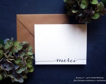 Merci Card, Merci Thank You Cards, Letterpress Thank You Notes, Note Set (Set of 4 Note Cards with Envelopes) - Black Ink
