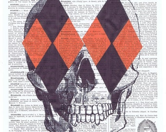 Harlequin.Skull.skeleton.catrina.Gift,French.Antique Book Page Print,buy 3 get 1 free.deco.steampunk.goth.day of dead.dia de los meurtos.art