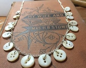 Tiny antique mother of pearl button necklace