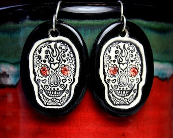 Day of the Dead Sparkle Surly Ceramic Earrings with Swarovski Crystals