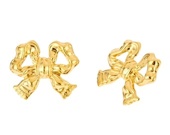 14k yellow gold plated Bow Studs Small, gift under 10. delicate, girly, sweet, stocking stuffer. On sale.