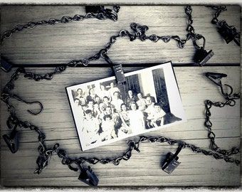 Industrial Chic Chain Photo Card Clips Banner Hanger Clip Metal Chippy Display Antique Black Primitive Steam Punk Ornament Veenas Mercantile