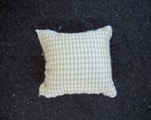 One Dollhouse Miniature Sage Green and Off-White Plaid Pillow (Square)