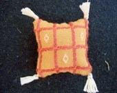 One Dollhouse Miniature Gold, Orange and Off-White Pillow (Square with Tassels)