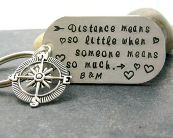 Distance Means So Little When Someone Means So Much Keychain with compass charm, personalized with initials, going away gift, retirement