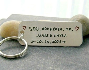 Personalized Couples Keychain, You Complete Me, couples names and anniversary date, anniversary gift, anniversary keychain K-ALB