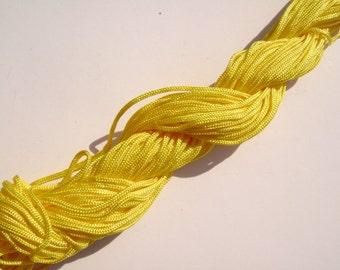6# Cord Nylon Yellow Macrame Knotting Braided Beading Cord 1.5mm, 54 feet