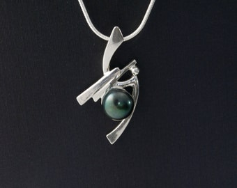 Sterling Silver and Black Pearl Pendant