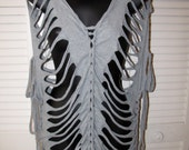 gray see through shredded t shirt cover up with sliced sleeves