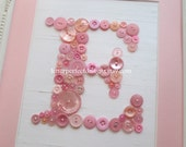 Baby Nursery Button Letter Art, Personalized Kids Wall Art, Baby Girl Pink Blend Button Art, Ready To Frame or Wall Canvas