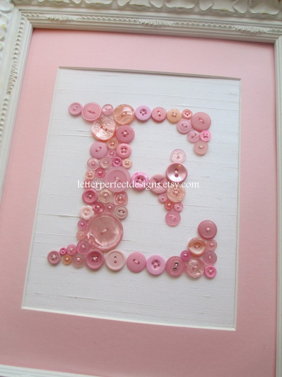 Baby girl nursery button letter art by letterperfectdesigns for Baby room decoration letters