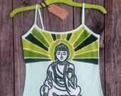 Buddha batik yoga spaghetti tank tops and tees hand painted & hand dyed women Eco friendly green