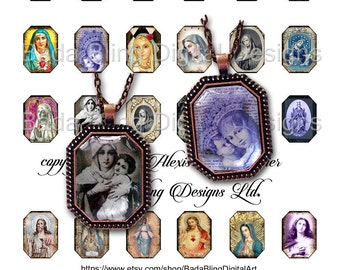 Antique Prayer Cards,  22mm x 30mm octagons, INSTANT DOWNLOAD,religious collage sheets. octagonal  pendants,Madonna, Catholic images