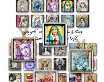 inchies,  Altered Art, Antique Prayer Cards,  INSTANT DOWNLOAD at Checkout, religious collage sheets. Madonna, Catholic pendants
