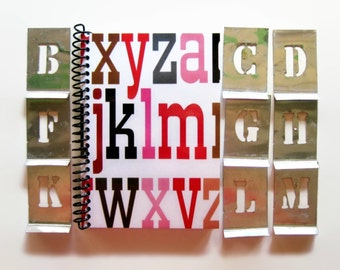 Big Letters Spiral Notebook, Blank Sketchbook, Writing Journal, Back to School, Spiral Bound Diary A6 Pocket Cute 4x6 Inches, Gifts Under 15