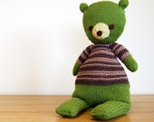Green Teddy Bear, Knit Teddy Bear, Handmade Knit Bear, Plush Bear, Softie, Baby Gift, Baby Shower Gift, Birthday Gift, Boy Gift, Girl Gift
