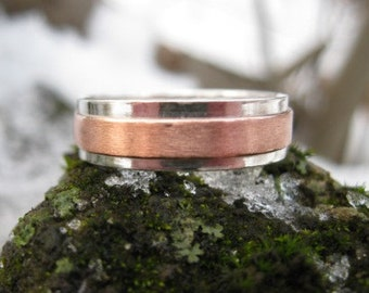 Copper Ridge Wedding Band . personalized mens mixed metal ring . sterling silver and copper band . READY TO SHIP sz 9.5