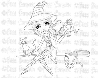 Digital Stamp - Printable Coloring Page - Fantasy Art - Witch Stamp - Adult Coloring Page - Lilah - by Nikki Burnette - PERSONAL USE