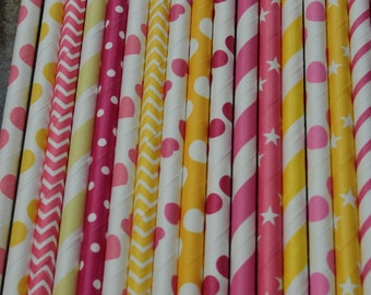 Yellow Hot Pink Party Straws --