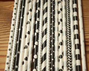 Paper Straws, New Years Eve, Christmas, Black, Silver, Stripes, Dots, Chevron, Stars, You choose quantity