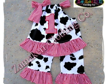 Custom Boutique Clothing Baby Girl Barn Farm Cow Outfit Top Pant Set Red Gingham 1st 2nd Birthday 3 6 9 12 18 24 Month Size 2T 3T 4T 5T 6 7