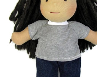 15, 16, 17 inch doll shirt, Your choice of color knit doll top, doll tee shirt