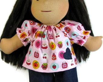 14 - 15 inch Waldorf Clothes, pink fruit jam sweets top, blue denim pants with glitter pink rick rack trim, ready to ship doll clothes