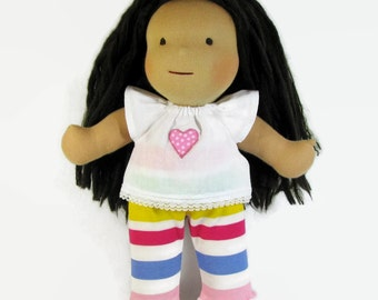 Waldorf doll pastel striped leggings and white top for your 14 to 15 in doll, waldorf doll clothes, pink heart doll top and pants