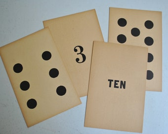 harter's perception cards, number cards, vintage numbers