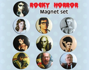 Rocky Horror Picture Show Mini Magnets or Buttons Pins 1970s (Set of 10)