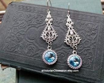 Wedding Victorian Chandelier Crystal  aqua blue  silver earrings