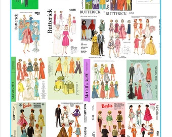 264 sewing patterns for barbie, skipper and other fashion dolls on DVD - also a few extras