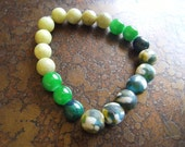 Gator Lemon Jasper Glass and Azurite Stretch bracelet