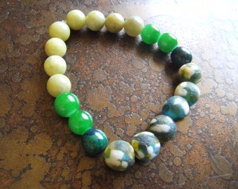 Gator Lemon Jasper Glass and Azurite Stretch bracelet