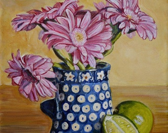 Polish Pottery mug acrylic painting, kitchen wall decor, floral still life painting, lime art, 8x10 original canvas painting, Heather Sims