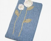 Kindle Sleeve Padded E-book cover Repurposed Jeans with Tan Roses
