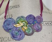 Fabric Rosette Bib Necklace Jewel Tone Colors Statement or Wedding Piece