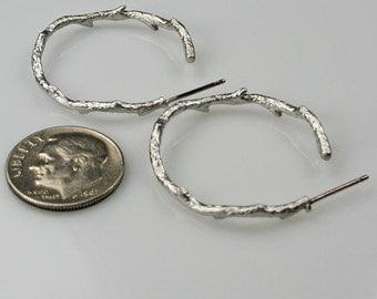 Silver Tree Branch or Twig Half Hoop Earrings