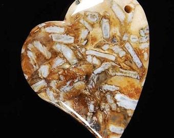 Bamboo Agate Heart Pendant Bead Destash
