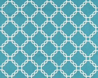 TURQUOISE GEO FABRIC Yardage Fabric by the yard teal turquoise and white chain link print cotton
