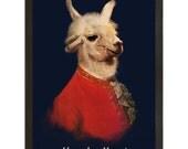 Wall Art, Llamadeus Mozart, Funny Animal Llama Print 18x24 Print