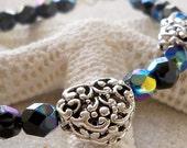 Silver and Black Bracelet - Heart Bracelet - Glass Bead Jewelry - Glass Beaded Jewelry - Silver Metal Heart Bracelet - Women's Bead Bracelet
