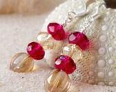 Glass Bead Jewelry - Glass Bead Jewelry - Cranberry Bead Earrings - Champagne Bead Earrings - Glass Beaded Earrings - Women's Bead Earrings