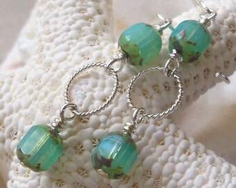 Bead Glass Earrings - Seafoam Green Earrings - Sterling Silver Earrings - Light Weight Earrings - Long Dangle Earrings - Czech Glass Earring