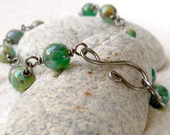 Bead Jewelry - Beaded Bracelet - Green Bracelet - Ocean Green Bracelet - Gift Idea - Boho Bracelet - Wire Wrapped Bracelet - Gift for Women